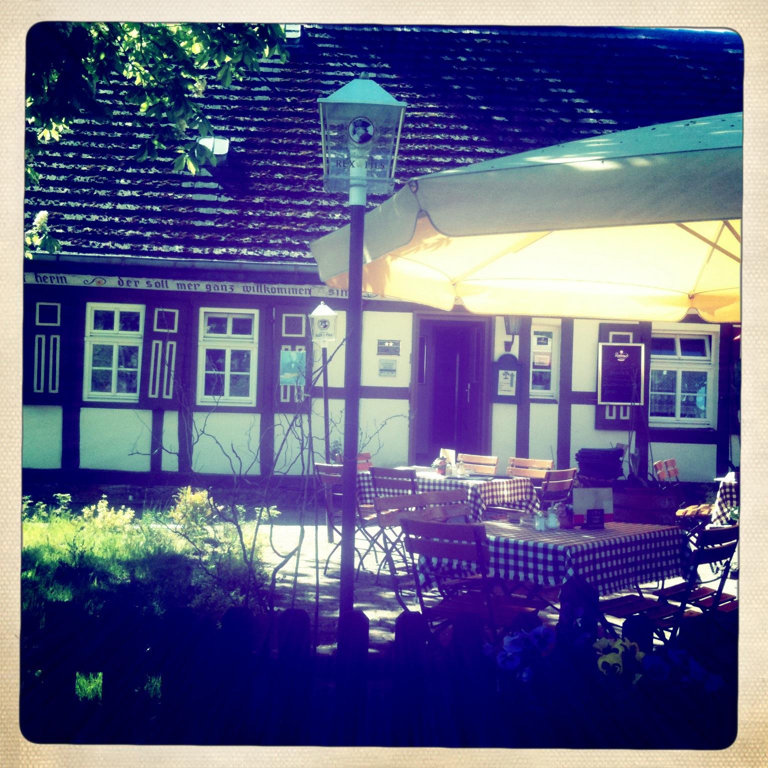 Die Terasse des Fontane-Haus in Neuglobsow am Stechlinsee