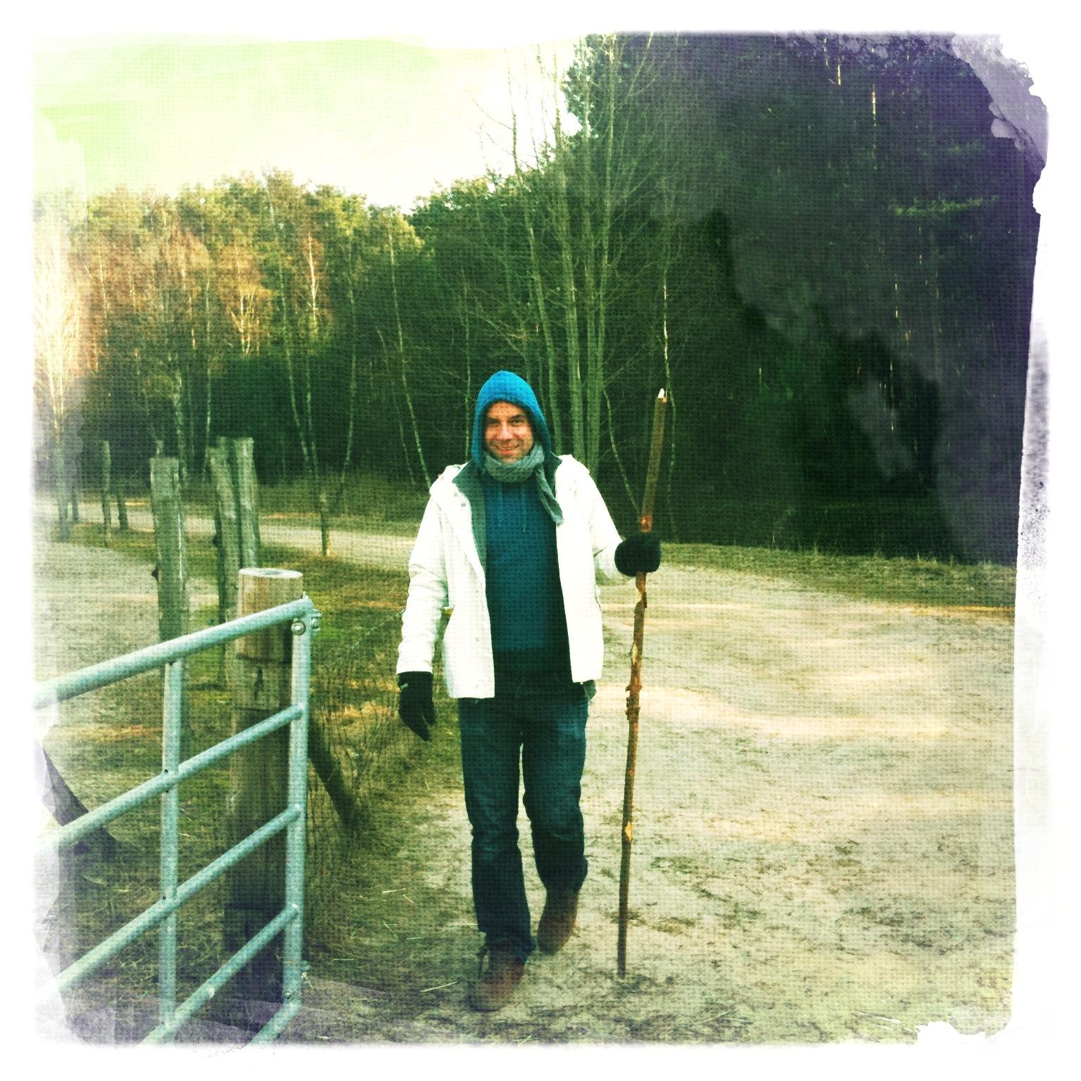 Mann der wie Noah aussieht im Wildpark Schorfheide